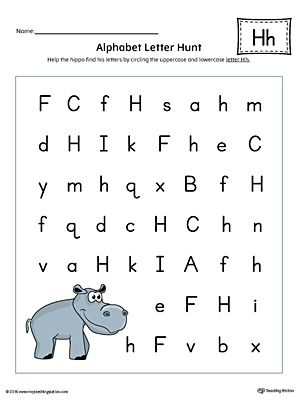 Alphabet Letter Hunt: Letter H Worksheet (Color). The Alphabet Letter Hunt: Letter H in Color is a fun activity that helps students practice recognizing the uppercase and lowercase letter H.