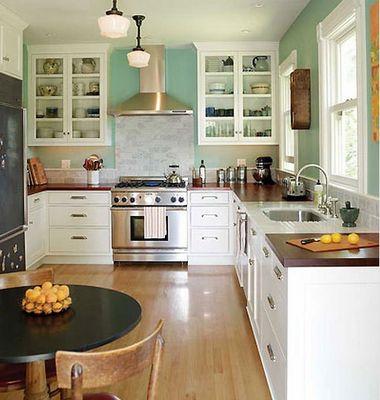 Wood Countertops White Cupboards White Subway Tile Backsplash Blue Walls