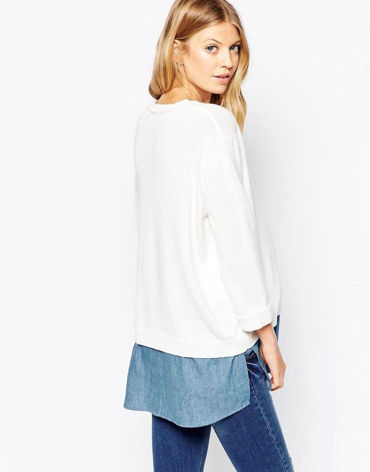 Image 2 ofASOS Maternity Jumper With Woven Shirt Hem