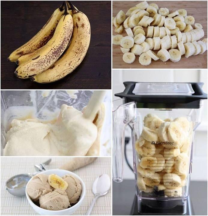 1. Pokrój banany w plasterki 2. Włóż do zamrażarki i trzymaj do zamrożenia 3. Zamrożone banany zmiksuj w blenderze 4. Lody gotowe, smacznego! Pyszne i zdrowe