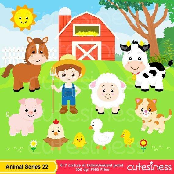 Farm Animals Clipart Set Farm Barn Farmyard Animals Sheep Cow Horse Chicken Personal Use Instant Download Gyerekek Allatok Sablonok