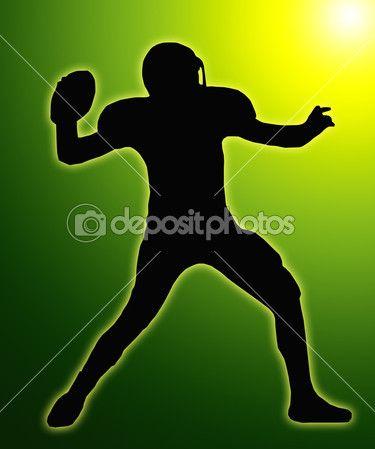 Resplandor verde. Silueta de jugador de fútbol americano.