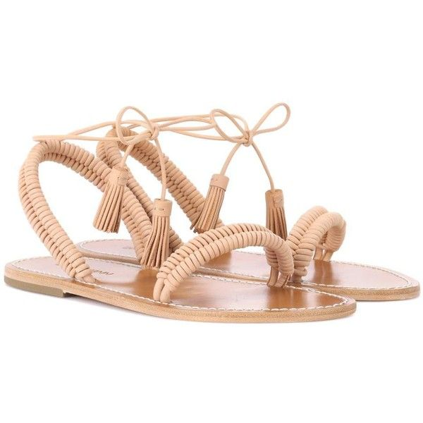 Zimmermann Wrap Weave Leather Sandals ($480) ❤ liked on Polyvore featuring shoes, sandals, brown, wrap sandals, wrap shoes, brown leather sandals, brown shoes and real leather shoes