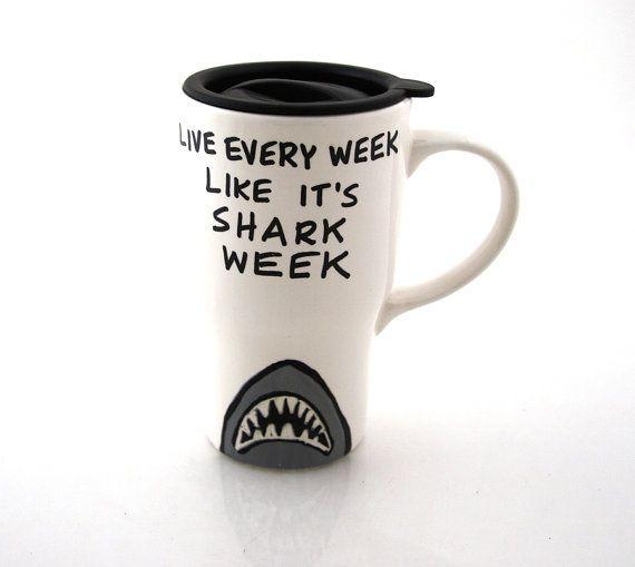 Shark week ceramic travel mug by LennyMud on Etsy, $20.00