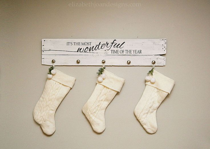 The Most Wonderful Stocking Hanger - Since we didn't have a place to hang our stockings this year, I decided to make a stocking hanger with some fun holiday lyr…