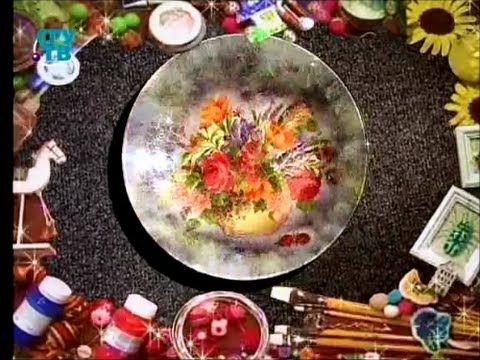 Художественный декупаж. В технике прямого и обратного декупажа декорируем тарелку и часы - YouTube