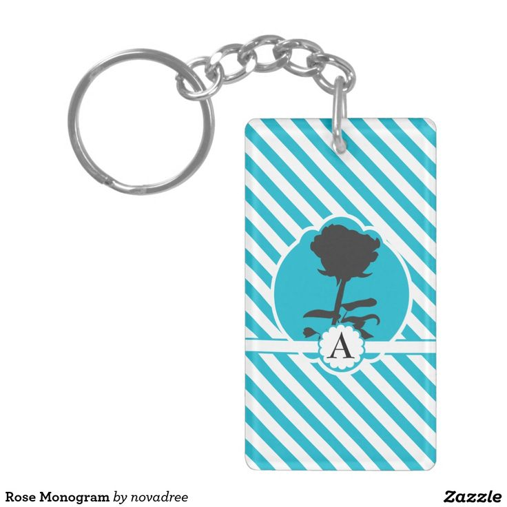 Rose Monogram Double-Sided Rectangular Acrylic Keychain