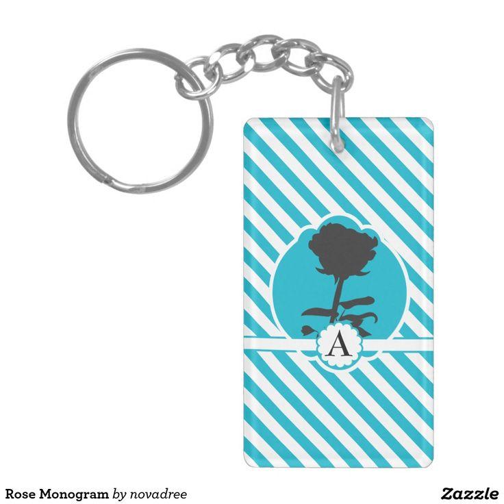 Rose Monogram Double-Sided Rectangular Acrylic Keychain