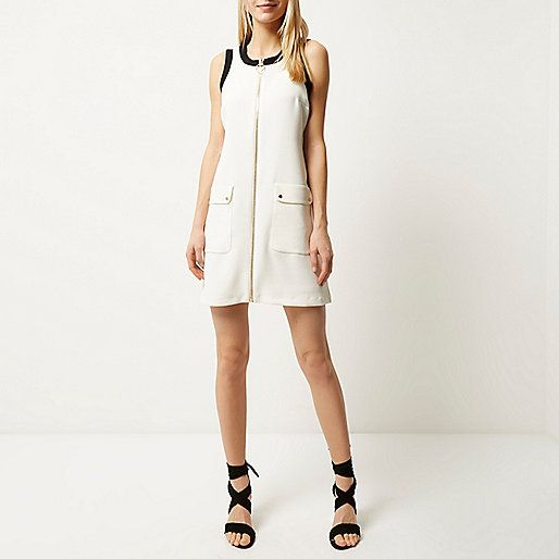 Cream zip-up shift dress - day / t-shirt dresses - dresses - women