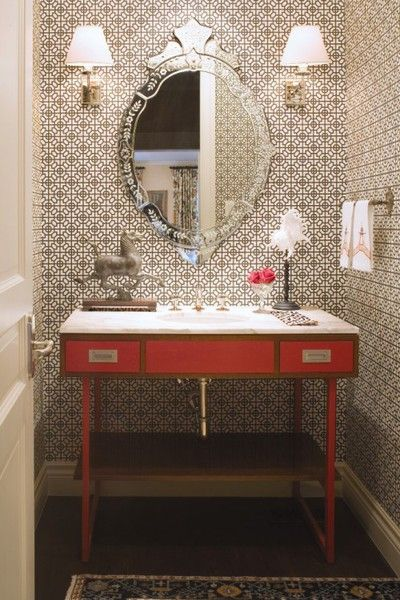 Love decorated small bathrooms!: Bathroom Design, Idea, Venetian Mirror, Small Bathroom, Half Bath, Interiors Design, Wallpaper, Colorado Home, Powder Rooms
