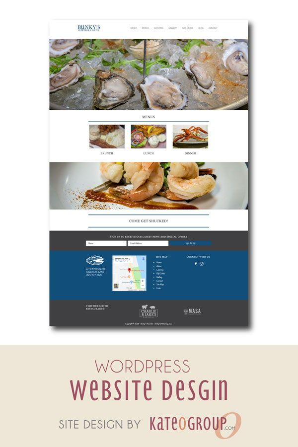 Restaurant Web Design By Kateogroup This Wordpress Website Redesign Was For Bunky S Raw Bar Re Restaurant Website Design Restaurant Web Website Redesign
