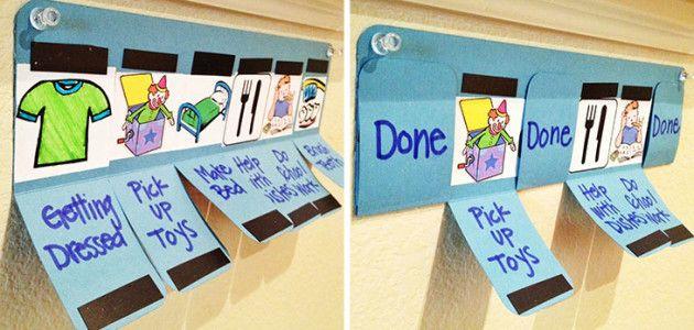 Calendario de tareas para preescolares: pendiente vs hecho #manualidades