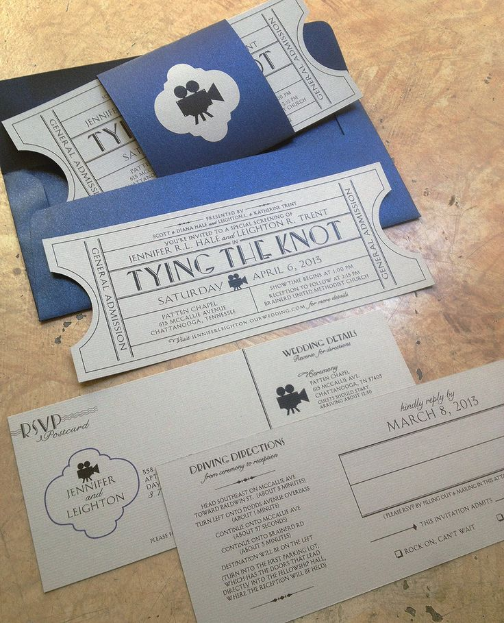 Vintage Cinema Wedding Invitation Ticket with tear-off RSVP postcard & Map info
