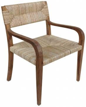 Nita Teak Arm Chair with Rush Seat - Mecox Gardens