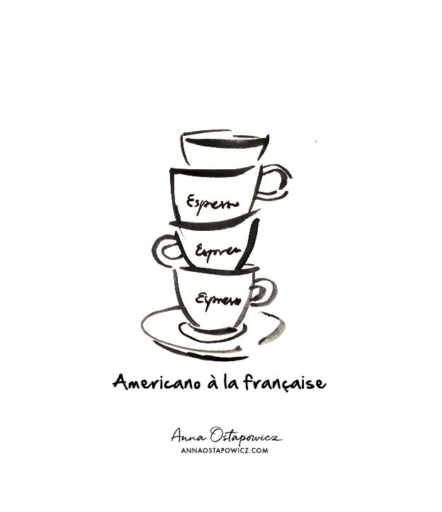 French coffee, Illustration Anna Ostapowicz, #espresso, coffee, #parisian, #americano