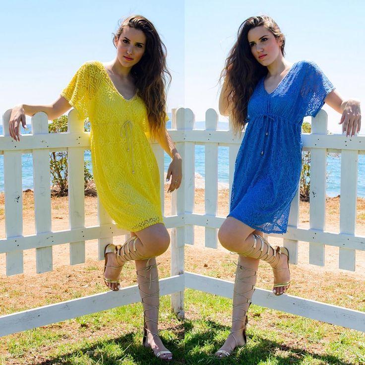 Blue or Yellow..?  #lovefashiongr #fashionblogger #greekblogger #sessile #lacekaftan