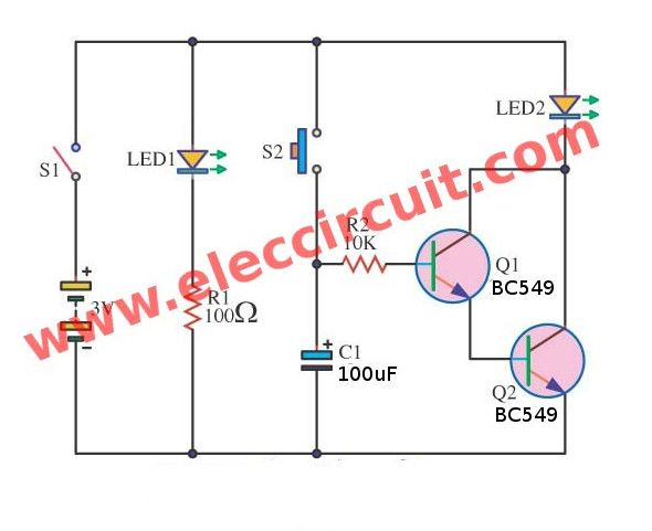 10 Sec To 30 Min Time Delay Circuit With Relay Transistor Eleccircuit Com Basic Electronic Circuits Circuit Electronics Circuit
