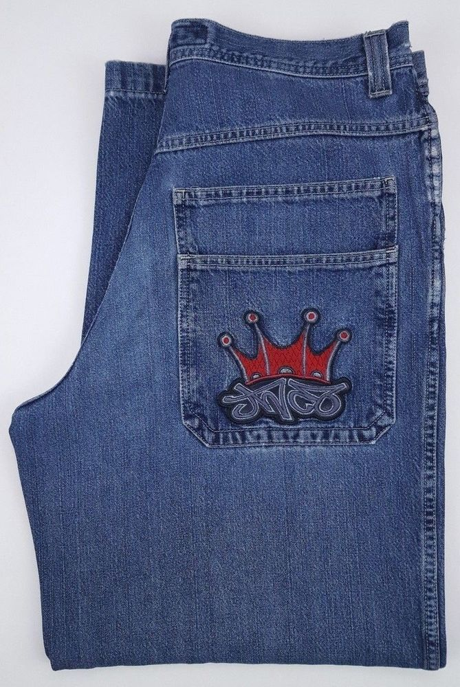 JNCO Jeans 35x31 Mens Blue Denim Jean Vintage Baggy Wide Leg Crown Logo 90s Vtg  #JNCO #BaggyLoose