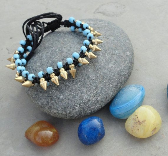 Trendy woven bracelet with blue and gold beads by OMyGlam on Etsy