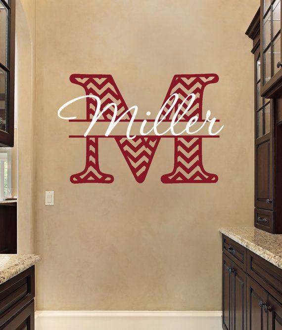Wall Decal  Personalized Chevron Monogram  by FourPeasinaPodVinyl, $30.00