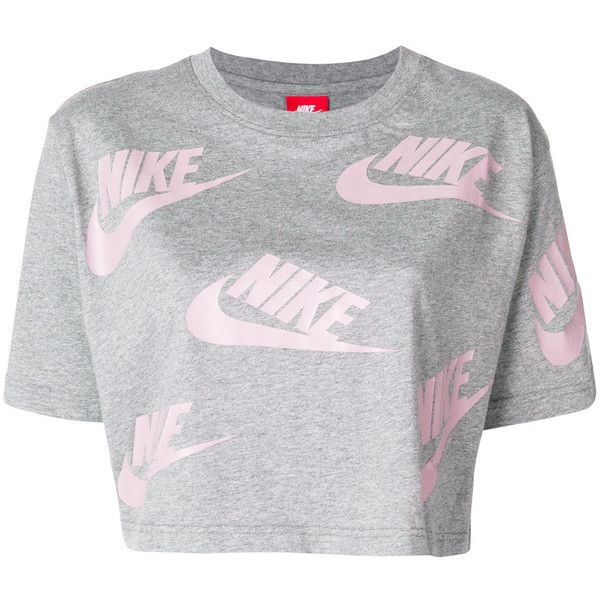 Nike cropped logo T-shirt featuring polyvore, women's fashion, clothing, tops, t-shirts, grey, grey crop top, gray t shirt, logo tee, cotton tees and crop tops