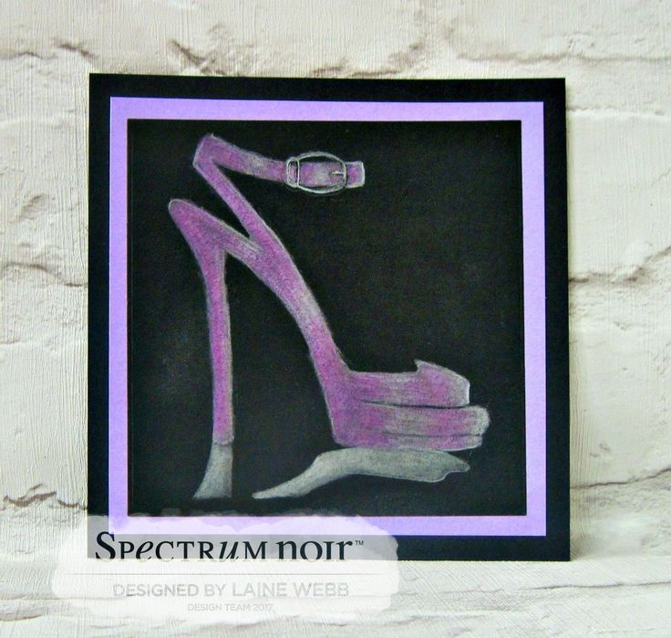 Laine Webb – Sketched Image  Hand Drawn Fashion Illustration - Shoe by Laine. Spectrum Noir Metallic Pencils: Mica, nickel, violet, silver, pink, purple Spectrum Noir Blending Solution  and paper stumps to create a smooth blend Spectrum Noir Premium Black Paper