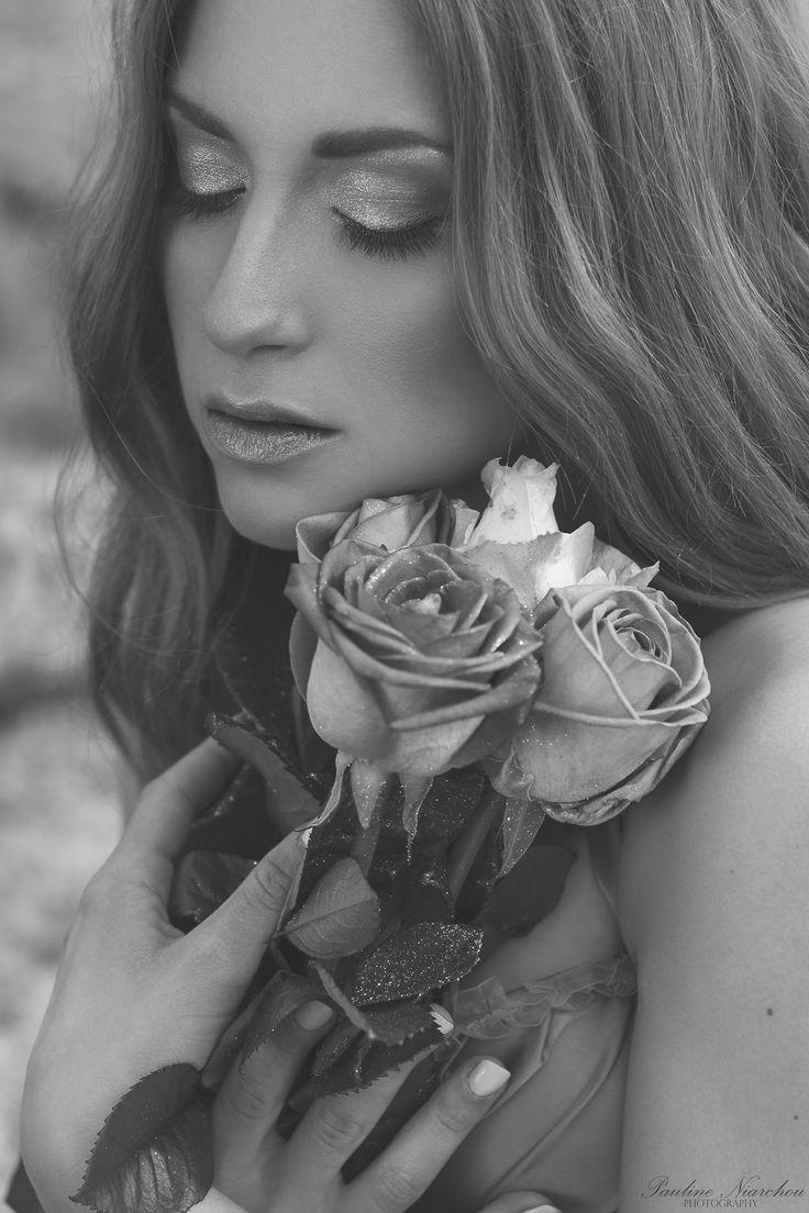Fairytale by Pauline Niarchou on 500px #fairytale #model #photography #portrait #blackandwhite #flowers #roses #face #makeup