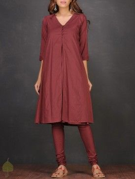 Red Front Slit Cotton Mul Kurta with Slip by Jaypore (Set of 2)
