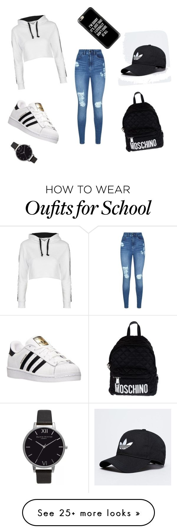 """""""#OOTD for school"""" by luxuriousbaderca on Polyvore featuring Lipsy, Topshop, adidas, Moschino, Casetify and Olivia Burton"""