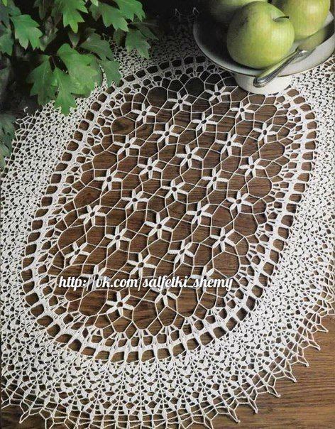 Овальная салфетка. #вязание_крючком #салфетки_крючком #рукоделие #схемы_крючком #crochet #crochetdoily #knitting