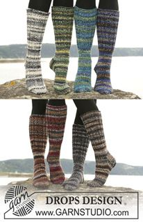 """Long DROPS socks in 2 threads """"Fabel"""" or 1 thread """"Big Fabel"""" with foot in rib or stockinette st. ~ DROPS Design"""