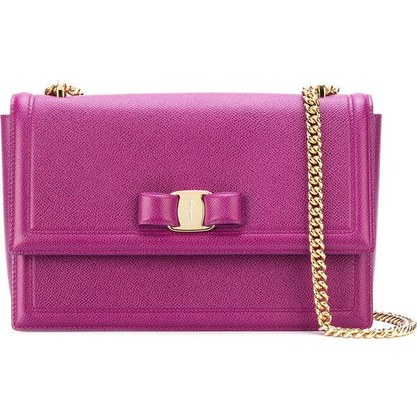 Salvatore Ferragamo Ginny Leather Shoulder Bag ($1,220) ❤ liked on Polyvore featuring bags, handbags, shoulder bags, violet, purple purse, shoulder hand bags, purple leather purse, chain shoulder bag and bow purse