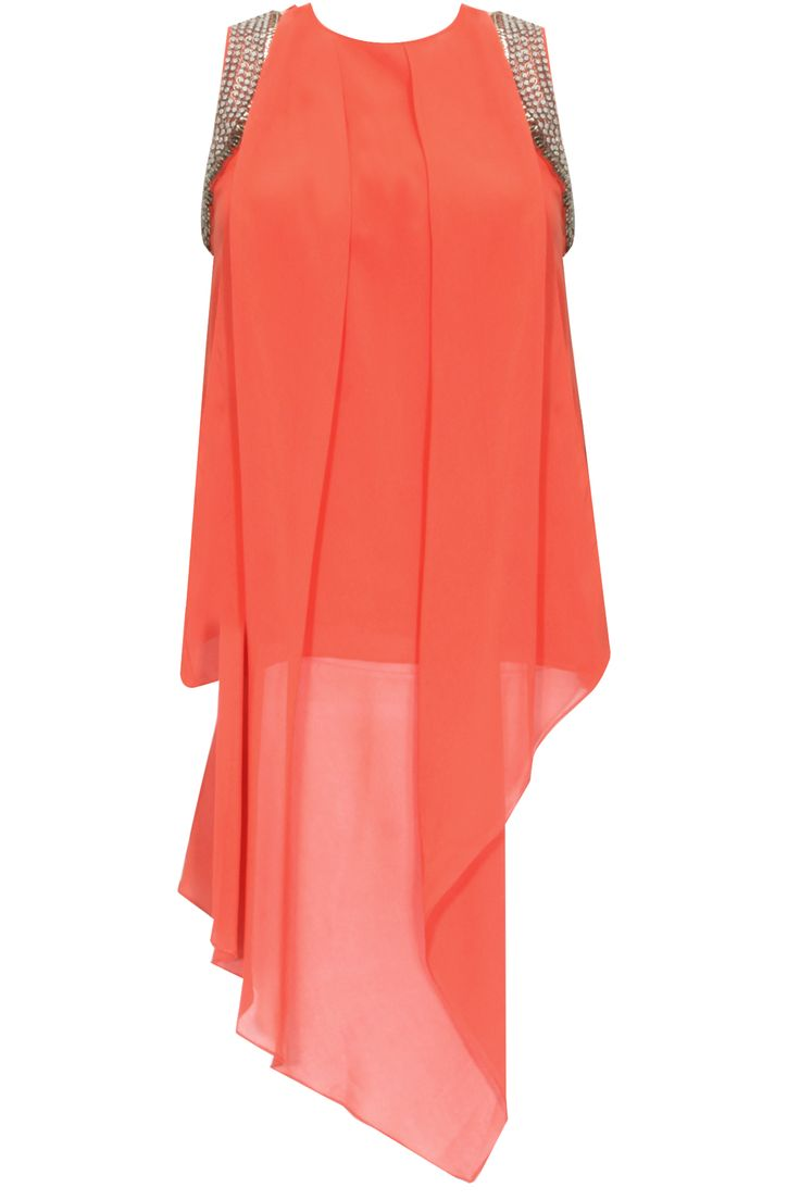 Coral sequins embellished asymmetric layered top by Rohit Gandhi and Rahul Khanna.  Shop now: http://www.perniaspopupshop.com/designers/rohit-gandhi-rahul-khanna  #shopnow #perniaspopupshop #rohitgandhirahulkhanna #coral