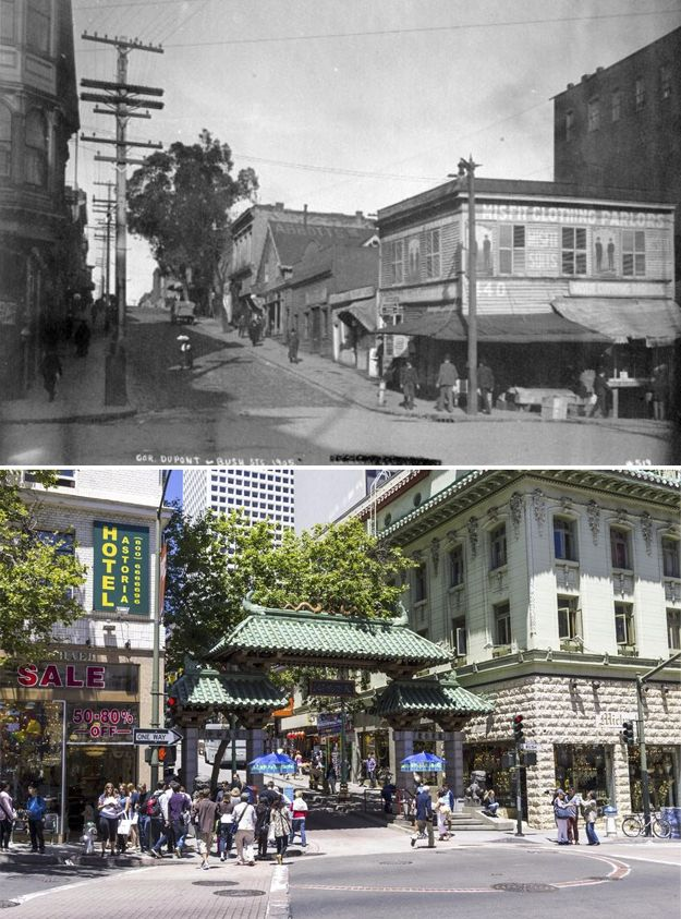 San Francisco Map Richmond District%0A      photo of Bush Street and Dupont  now Grant Avenue where the Dragon  Gate