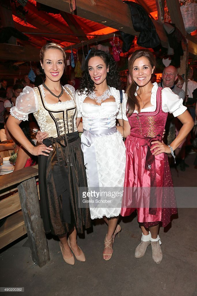 Sabine Lisicki, Lilly Becker wearing a Claudia Effenberg dirndl, Karen Webb during the Oktoberfest 2015 at Kaeferschaenke at Theresienwiese on September 26, 2015 in Munich, Germany.