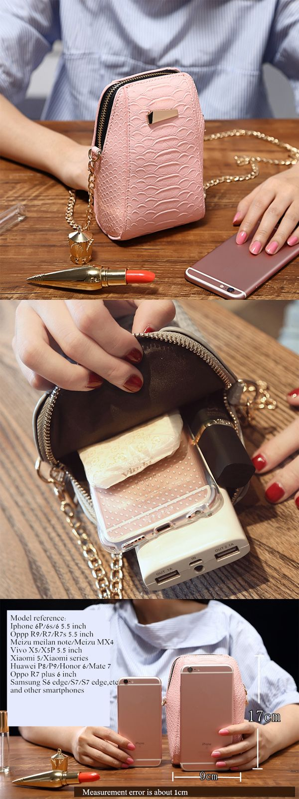 With a metal chain, as a shoulder bag.You can carry a smartphone, money and other tiny things.