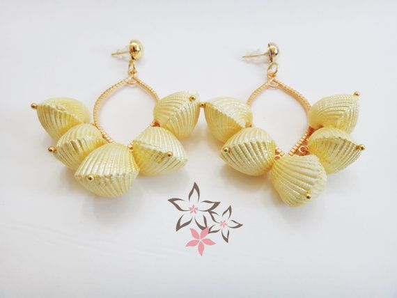 Yellow Paradise Shell Boho Gold Plated Brass Earrings by Twininas