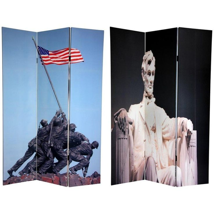 Handmade Double-sided 6-foot Lincoln/ Iwo Jima Memorial Room Divider (China), Multi