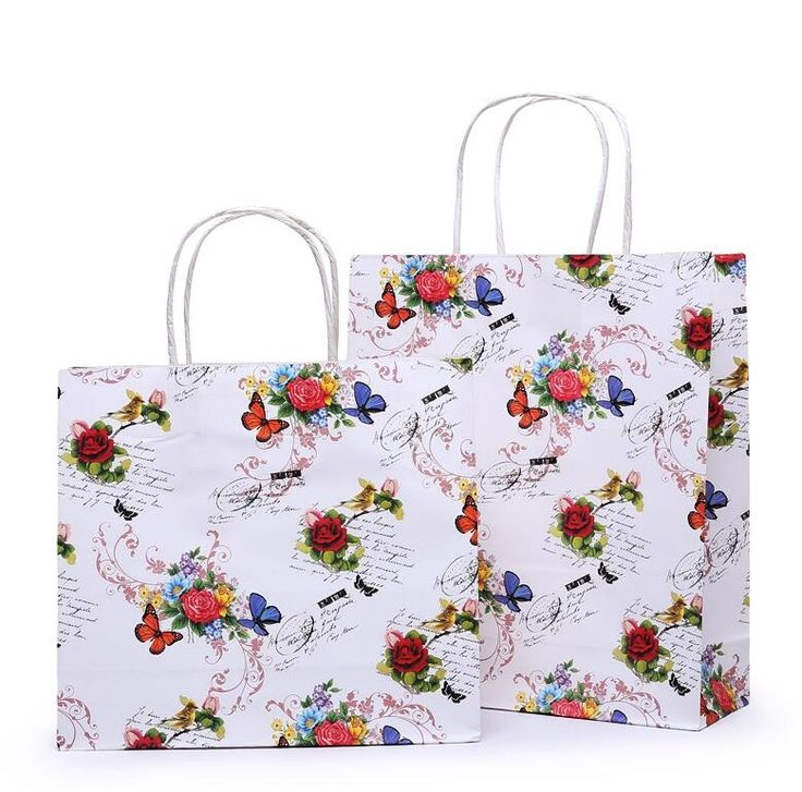 28*10*25cm white printed rose craft paper rope handle paper shopping bags wholesale