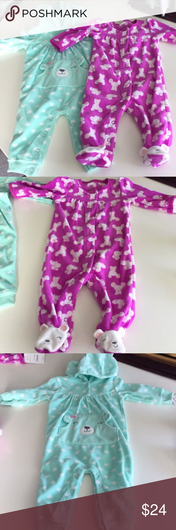 NWT long sleeve fleece onesie bundle, 6 mos NWT Bundle of 2 long-sleeved fleece Onesies, 6 mos. Perfect holiday gift for a little girl!! The mint green hooded onesie snaps up the legs and has buttons at the collar. No footies. Adorable little smiling bear face on a front pocket and white hearts printed all over. 2nd onesie is purple with snaps from the top all the way to the feet. Patterned with little mice and have smiling mice on each foot (footed onesie) One Pieces