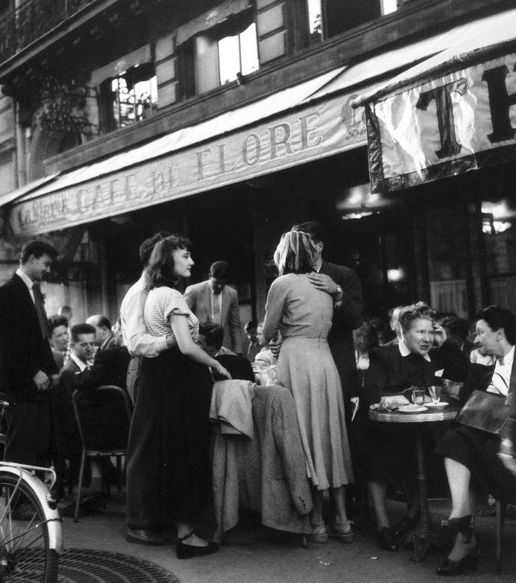 Cafe de Flore, Paris, 1947, photo by Robert Doisneau