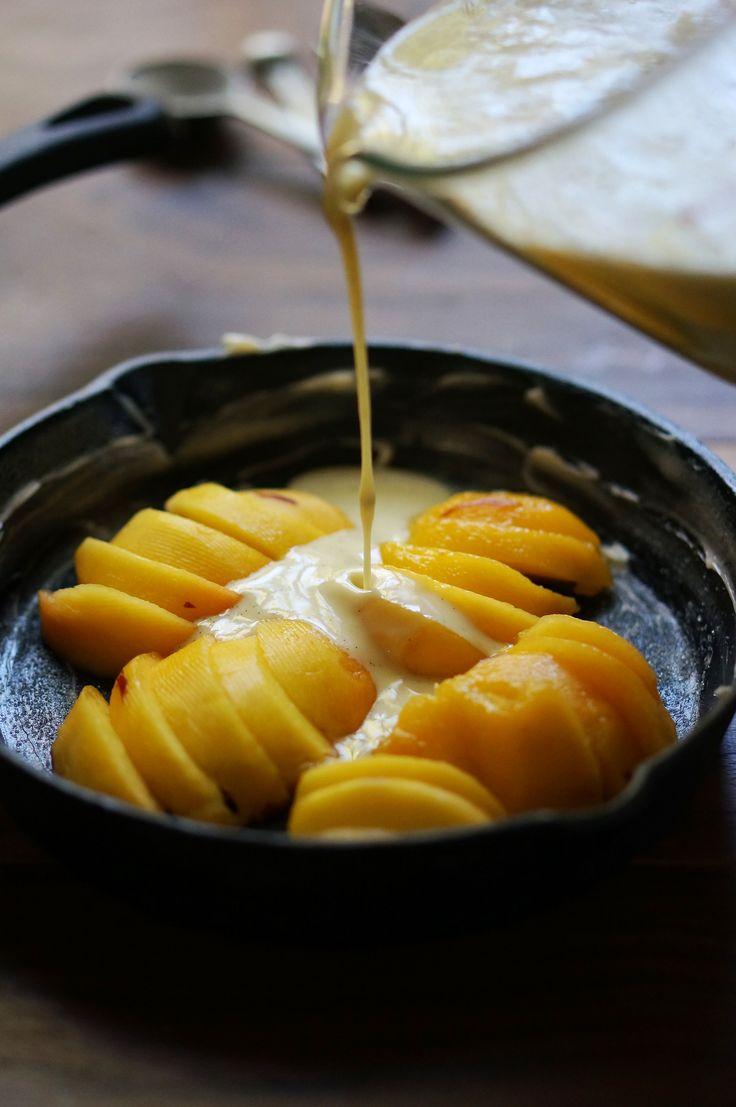Peach Clafoutis with Vanilla Creme Fresh | HonestlyYUM