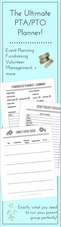 New and seasoned PTA volunteers and PTO leaders will appreciate having all of the essential planning pages at their fingertips in this fantastic PTA / PTO Planner and Organizing Kit!  Track Fundraiser Ideas, Family Fun Events, Officer Transitions, Volunteer Coordination and more!  This planner has everything you need for your parent group to succeed!  This planner is perfect for PTA Presidents and PTO Presidents!