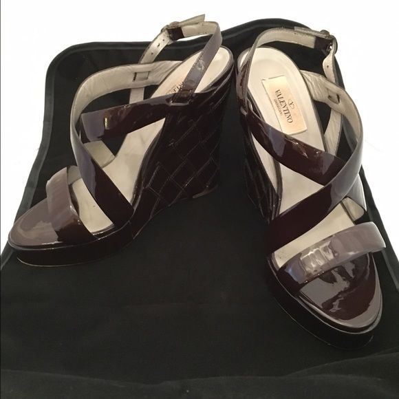 Valentino wedge sandals - tortoise Authentic Valentino wedge sandals - excellent condition. Size 37 - authentic. These are too small and too tall for me. They are comfy, just too small. Over $600 new. I purchased these from My Sisters Closet in Scottsdale, AZ. If you've ever been to one, you know they only sell authentic items. Valentino Shoes Wedges