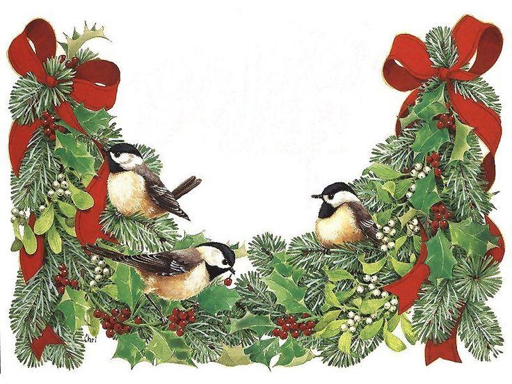 Drie Koolmeesjes op Kersttak met Rode Strikken
