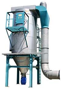 FABRIC DUST COLLECTOR JEX - JeX is a cylinder type fabric dust collector with built-in cyclone pre-separator which makes this type of dust collector suitable for dust with solid particle quantity. With the cyclone impact a higher filter load is possible, and the air rate inside the dust collector will also be lower, which protects the dust collector bags from wear and tear.