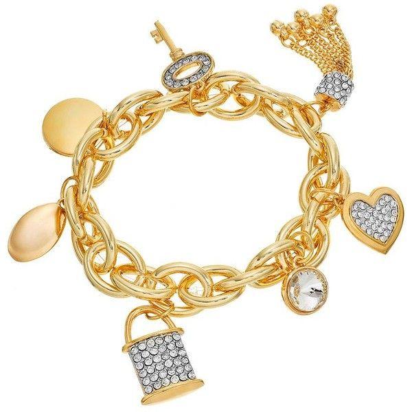 Jennifer Lopez Charm Stretch Bracelet ($13) ❤ liked on Polyvore featuring jewelry, bracelets, multicolor, charm bangles, charm jewelry, tri color bangles, fake jewelry and colorful bangles