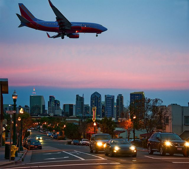 A Southwest flight coming in for landing at San Diego Lindbergh Field