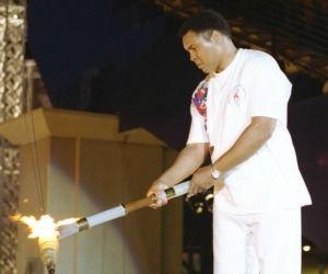 Muhammad Ali lights the torch at the Atlanta Olympics in 1996