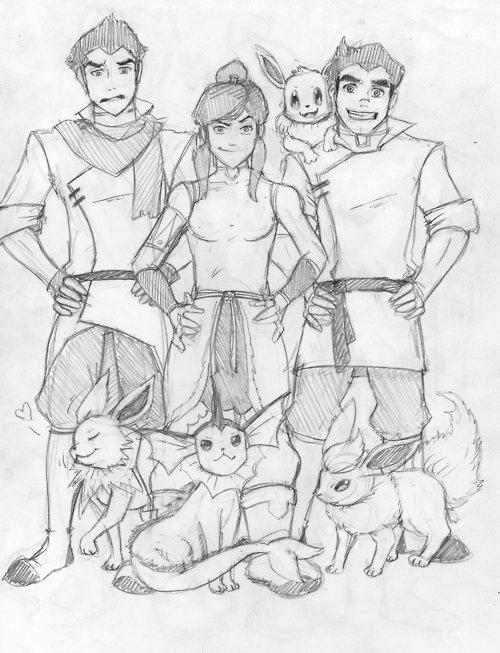 The Gang with EeveelutionsAtla Lok, Pokemon Gotta Catching